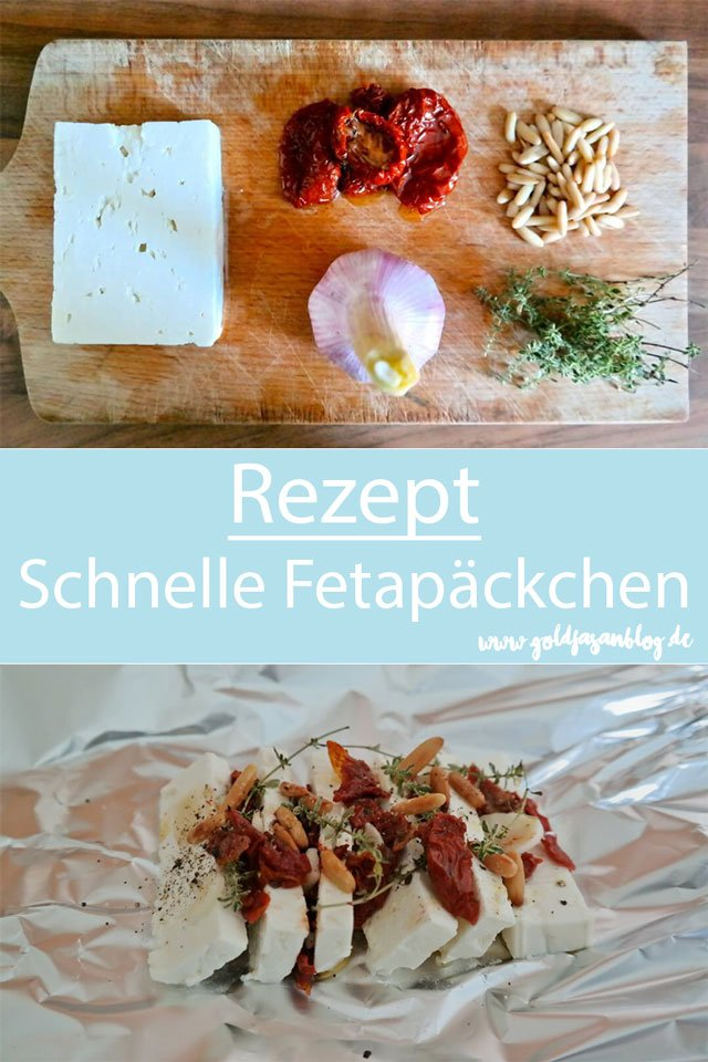 Collage mit Rezept für Fetapäckchen