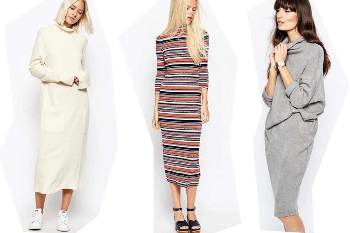 Collage zu Strickkleider-Shopping