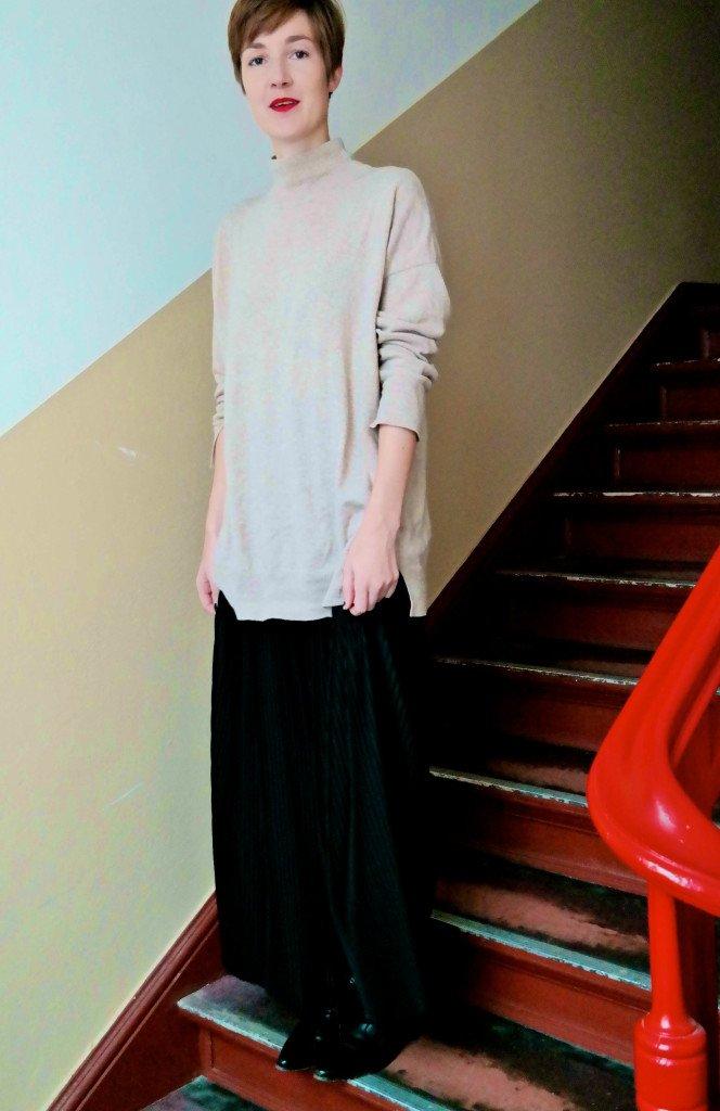 Outfit mit Rollkragen uns Culotte
