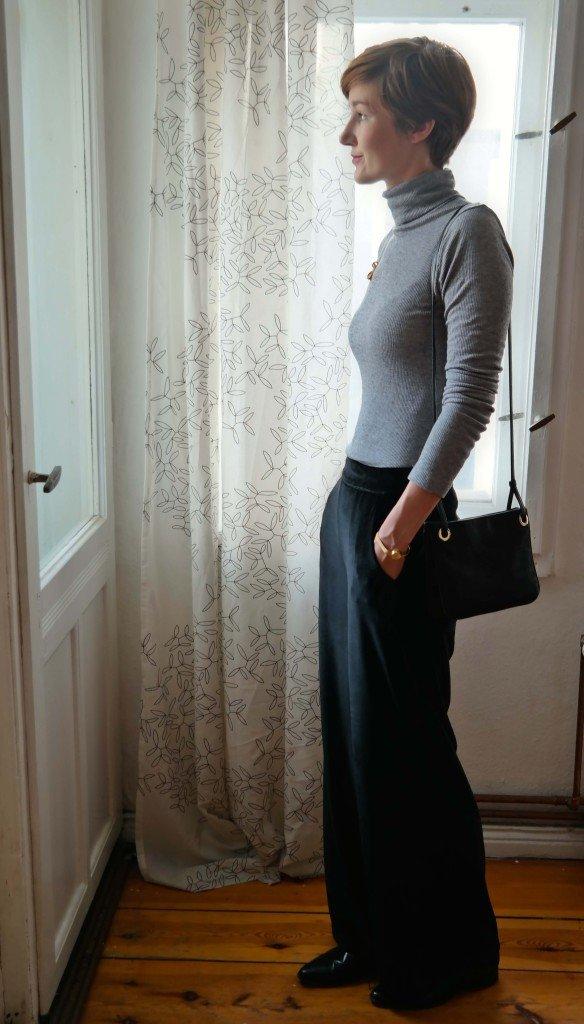 Outfit mit Wide Leg Pants und Rollkragen