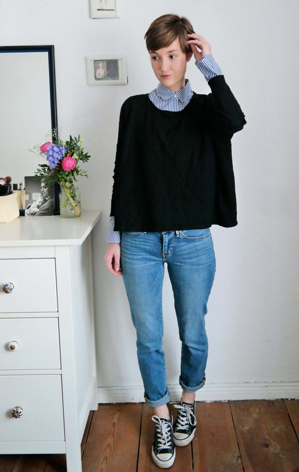 Outfit mit Bluse von Zara und Jeans