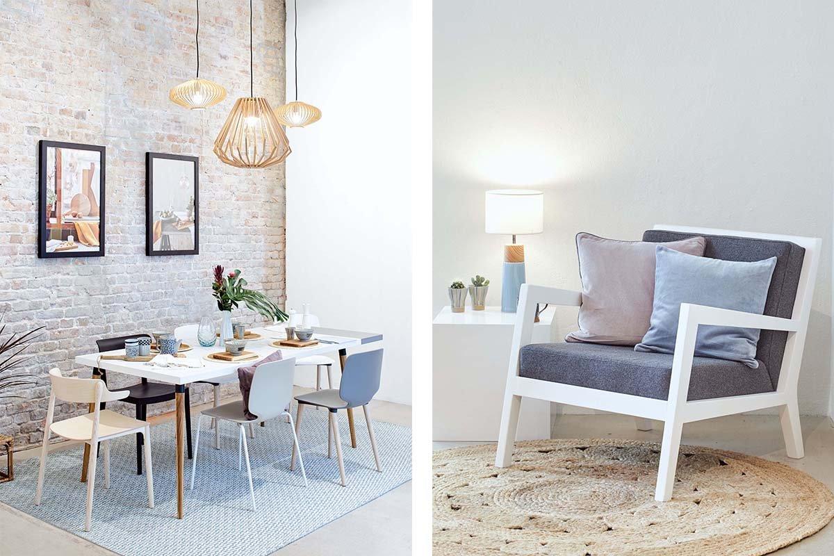 Collage mit Esstisch auf der linken und Sessel auf der rechten Seite