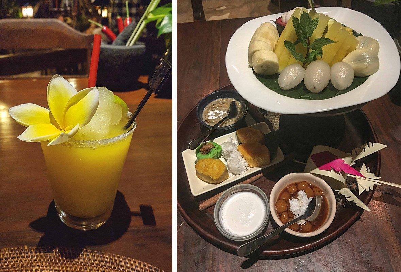 Collage mit Cocktail und Dessert im Bumbu Bali