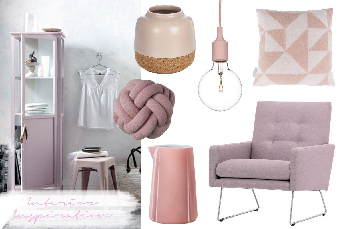 Collage mit rosa Interior Produkten