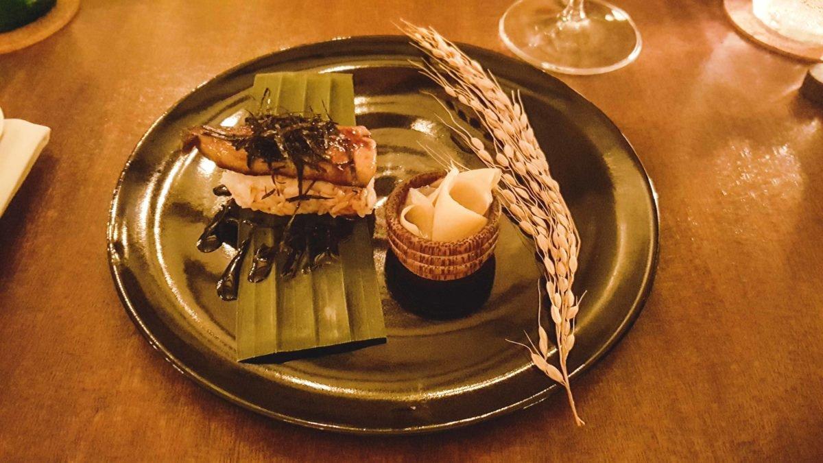Foie Gras Nigiri im Restaurant Sayan House in Ubud auf Bali