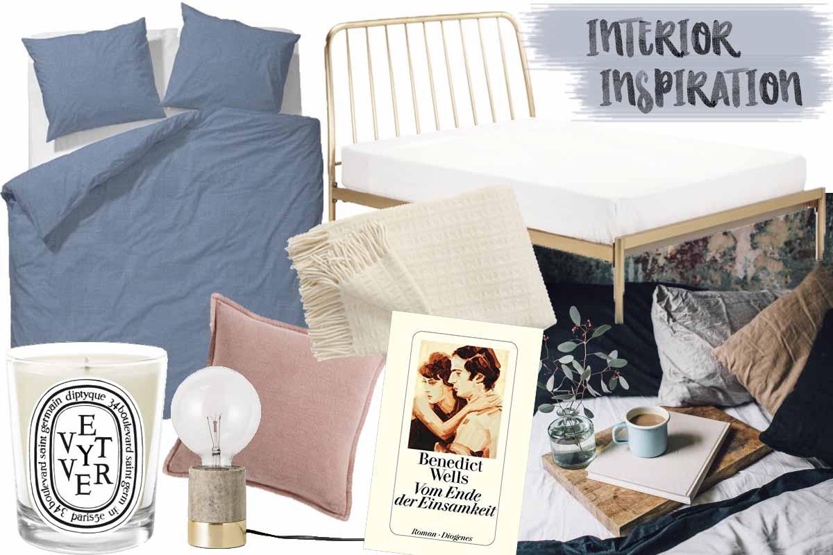 Collage mit Produkten für Bett und Schlafzimmer