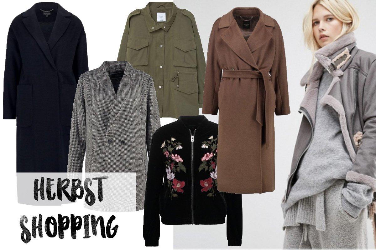 Collage mit Jacken und Mänteln für den Herbst