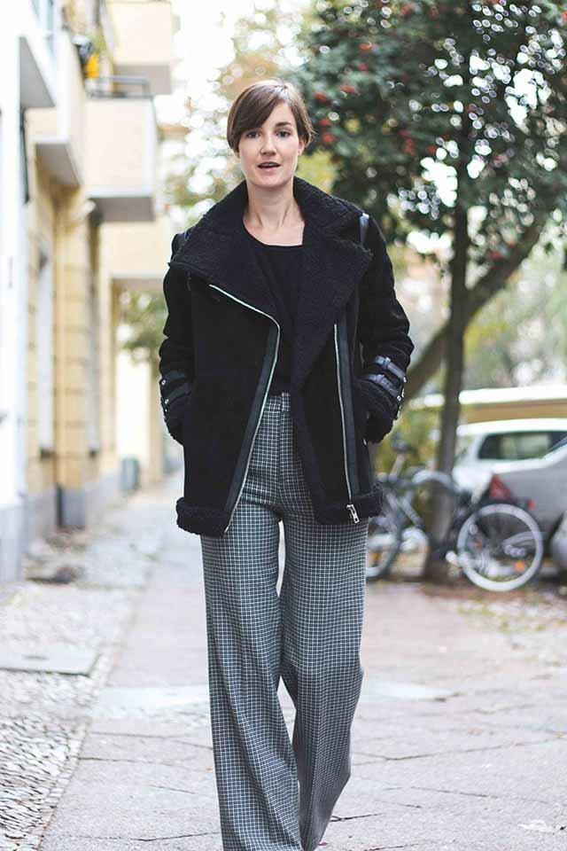 Outfit mit Hose mit weitem Bein von Zara und Pilotenjacke von Asos