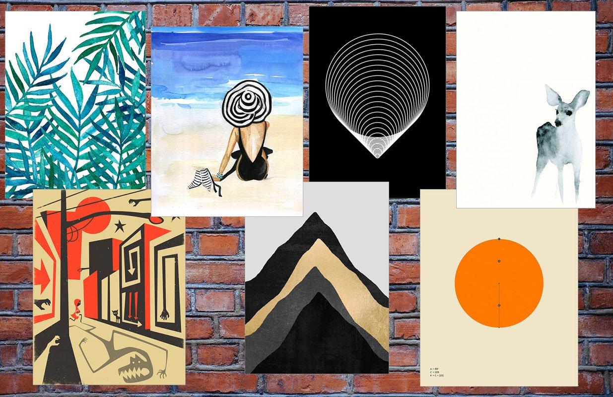 Collage mit Illustrationen von Posterlounge