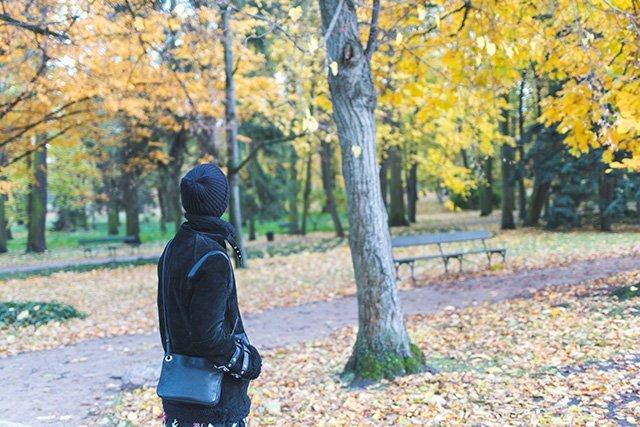 Spaziergang durch den Lazienki park in Warschau