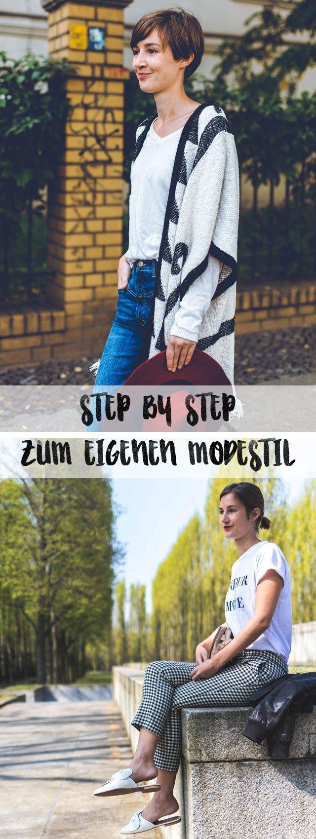 Collage mit Anleitung, um eigenen Modestil zu finden