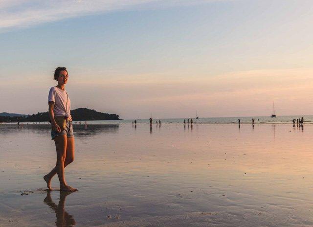 Ich beim Sonnenuntergang am Klong Dao Beach