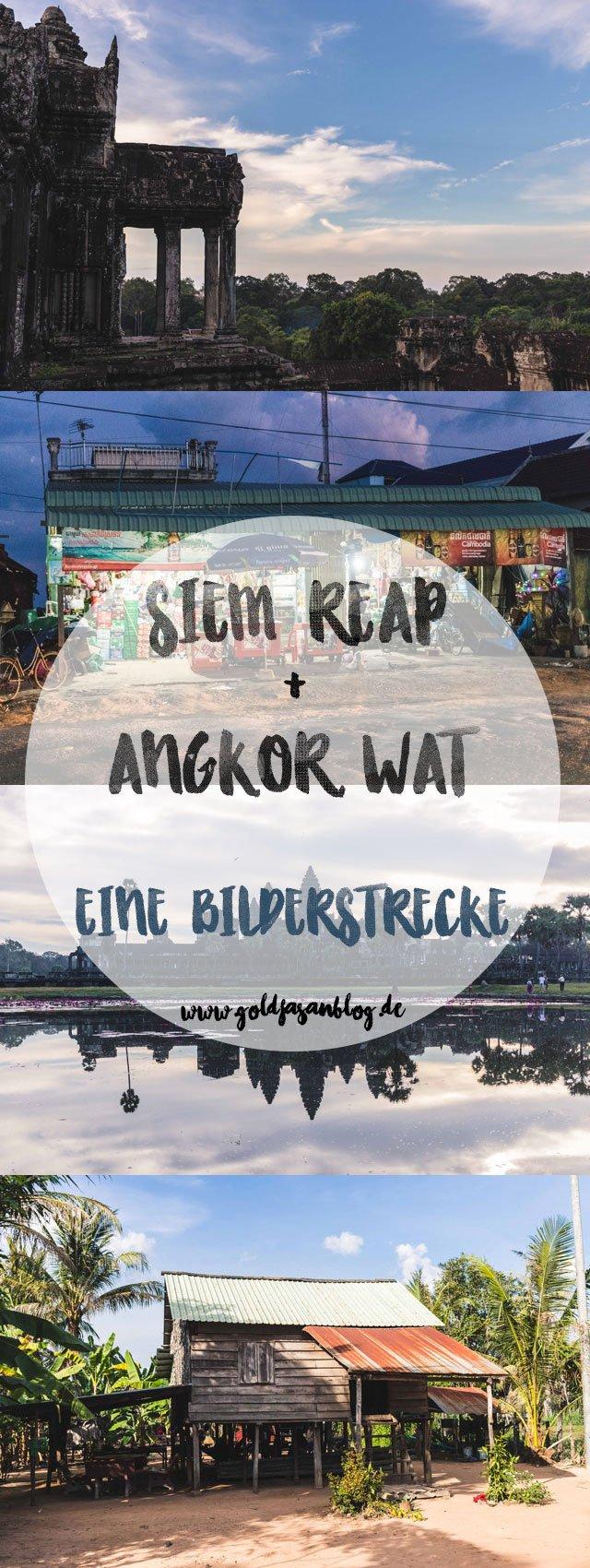 Collage mit Bilderstrecke zu Siem Reap und Angkor Wat, Kambodscha