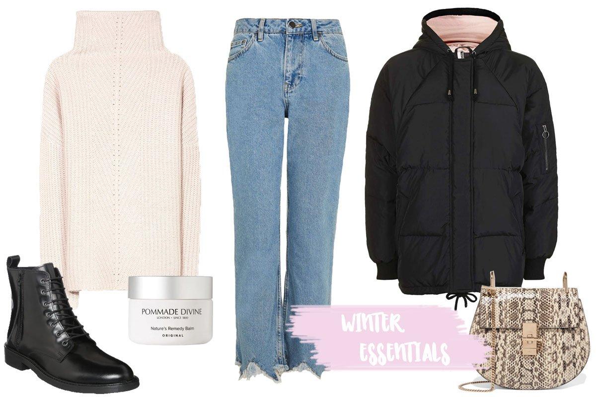 Collage mit Kleidung für den Winter mit Rollkragenpullover und Daunenjacke