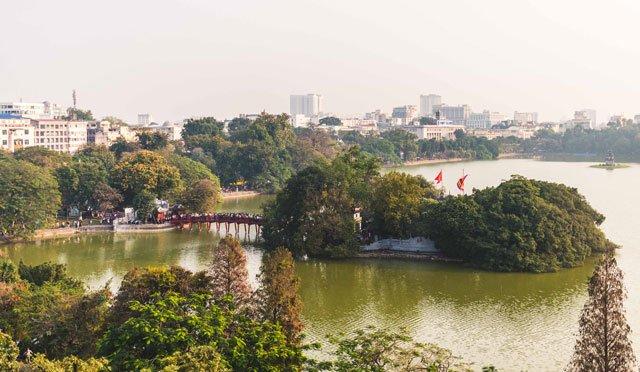 Hoan Kiem See in Hanoi von oben