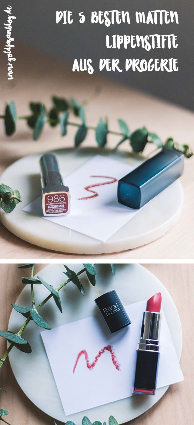 Collage mit den besten matten Lippenstiften aus der Drogerie
