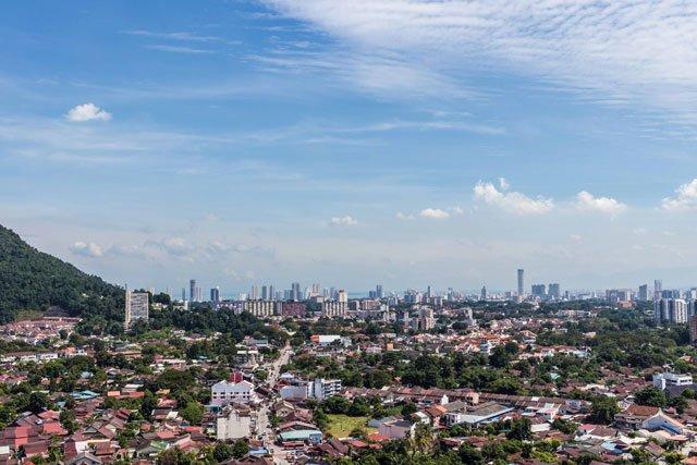 Ausblick von Kek Lok Si auf Penang