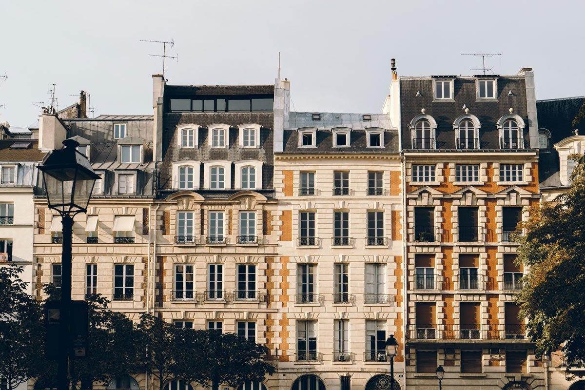 Blick auf Altbauten