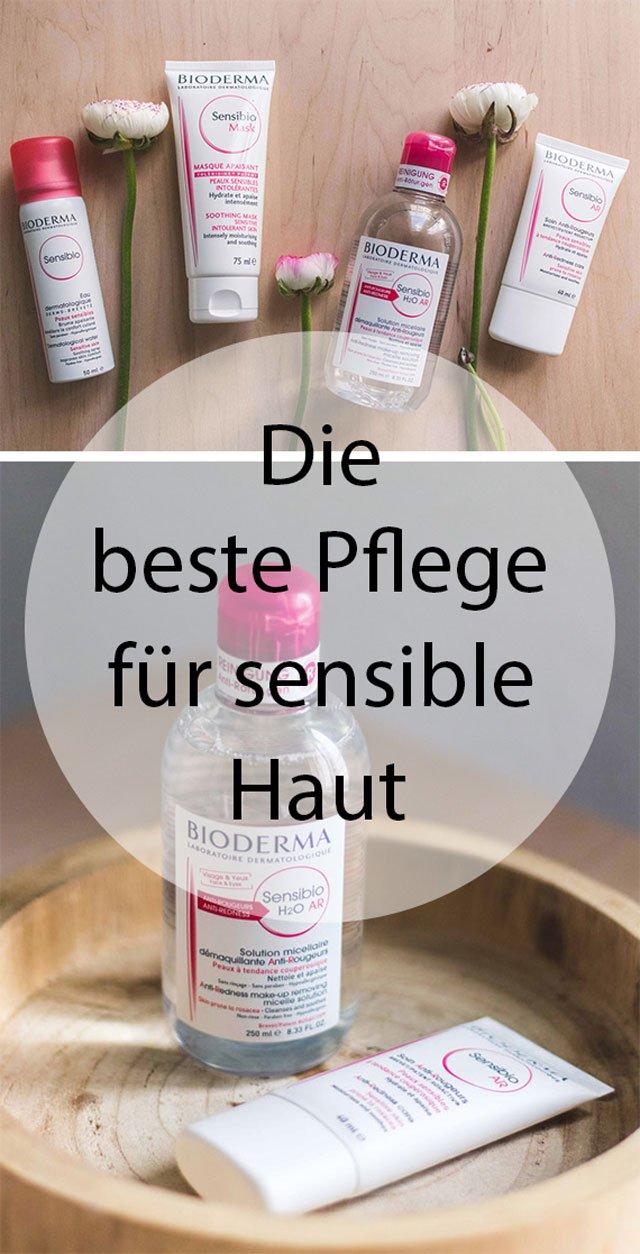 Collage mit Produkten für sensible Haut von Bioderma Sensibio