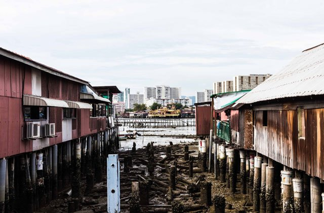 Häuser der Clan Jetties in George Town auf Penang
