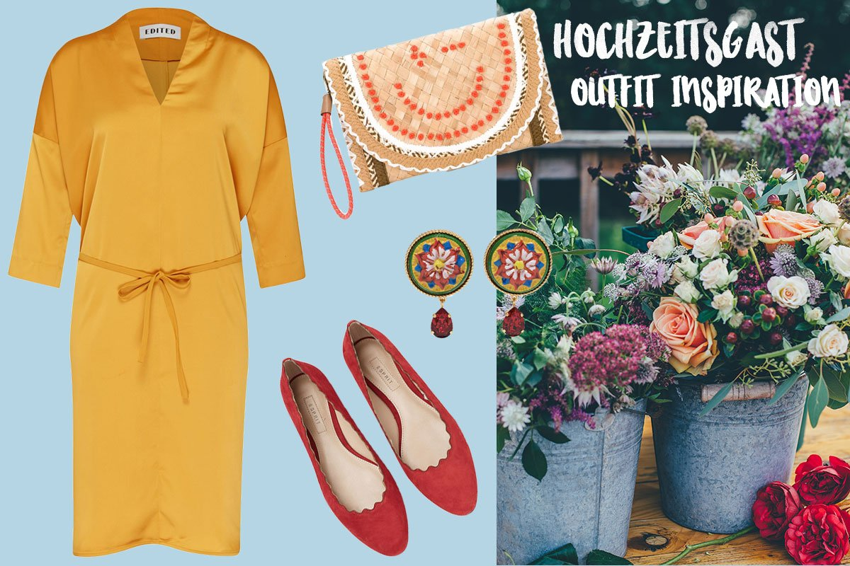 Outfit Collage mit gelbem Kleid für Hochzeitsgast