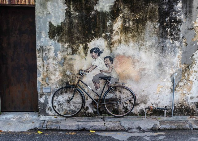 Street Art mit Fahrrad in George Town auf Penang