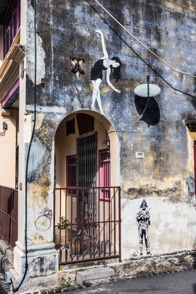 Street Art mit Tänzern in George Town auf Penang