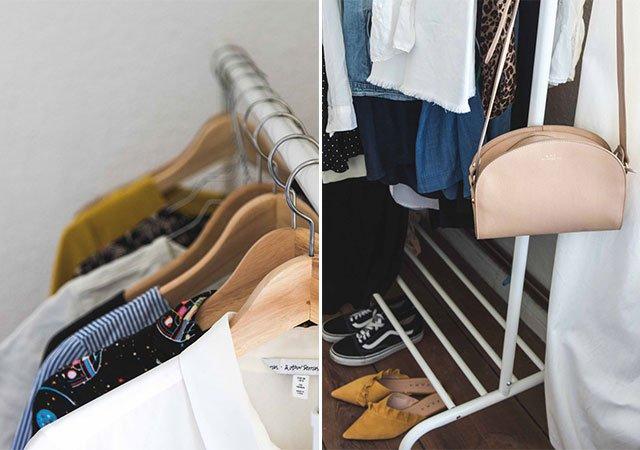 Kleiderstange im Schlafzimmer