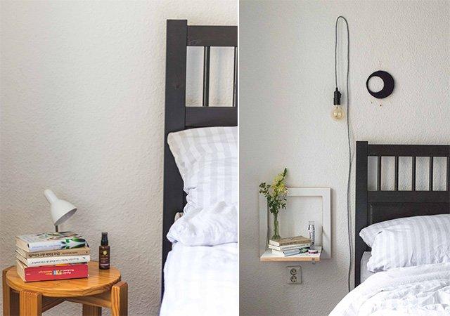 Schlafzimmer im Vorher-Nachher-Vergleich