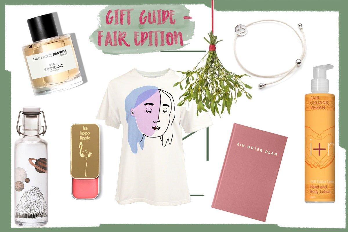Collage mit fairen Geschenkideen zu Weihnachten