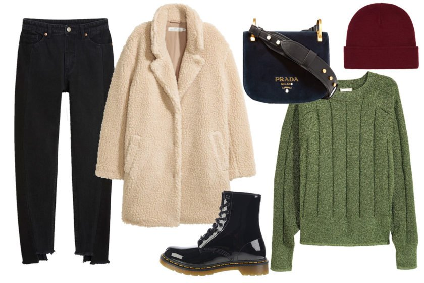 Winter Look Collage mit Teddymantel