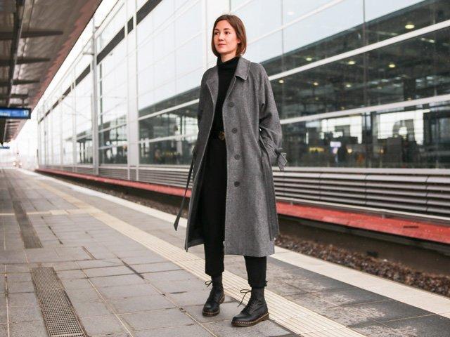 Outfit mit mantel von Uniqlo und JW Anderson