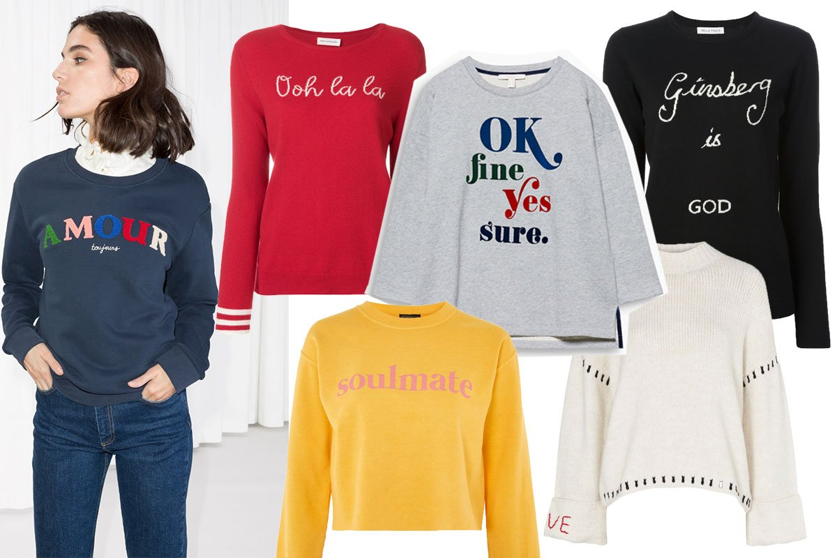 Collage mit Statement Sweatern zum Shoppen