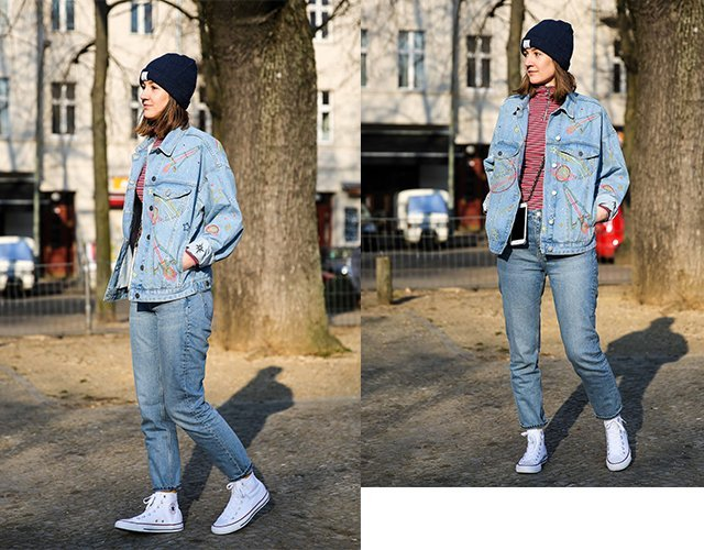 Collage mit Denim on Denim Outfit