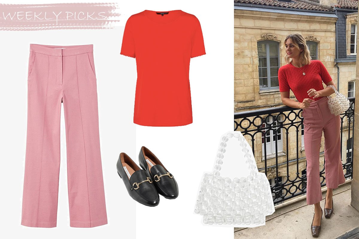 Outfit rosa und rot kombiniert