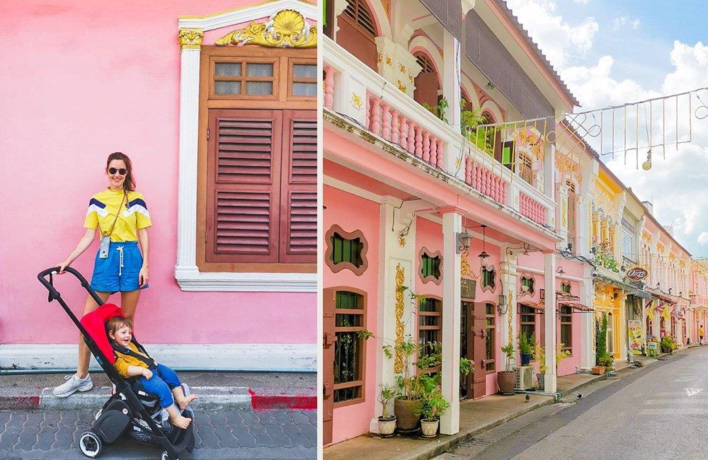 Pastellfarbene Häuser in Old Phuket Town