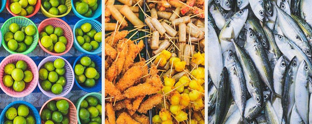 Obst, Fisch und Street Food auf dem Local Market in Bangtao