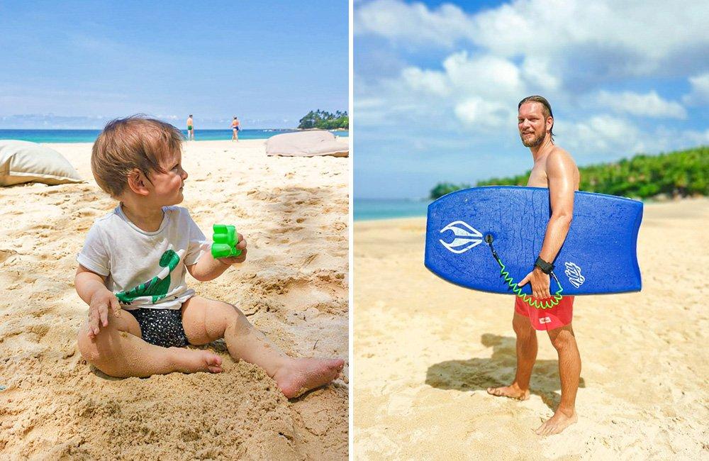Mit Baby am Strand auf Phuket