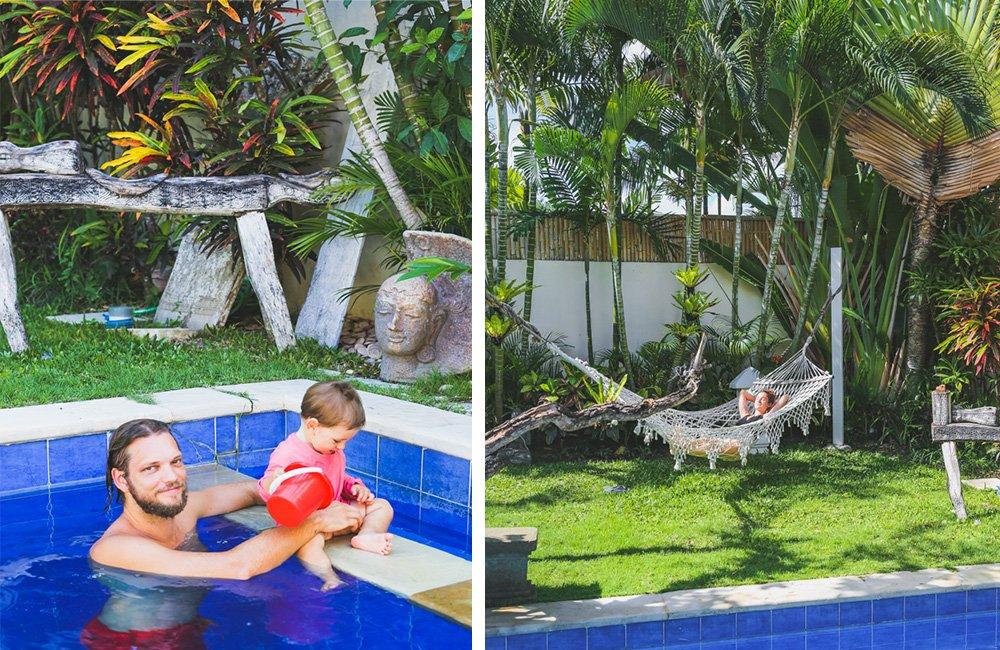 Pool und Garten mit Hängematte